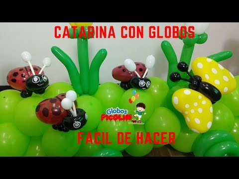 Como hacer una catarina con globos–How to make a ladybug with balloons
