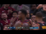 LeBron James finishes through contact