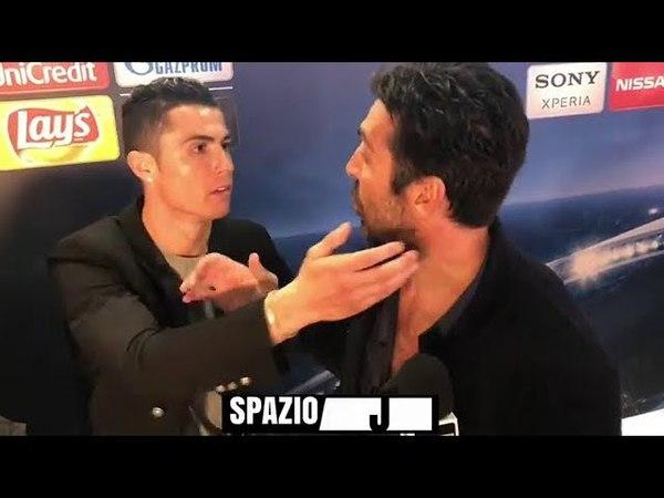 El gesto de caballero de Cristiano Ronaldo con Buffon beso y abrazo en zona mixta