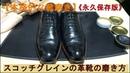 本格的な靴磨き スコッチグレインの革靴の靴磨き Scotch Grain Shoe Shine ASMR