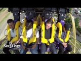 The cast of TAG rides BATMAN- The Ride - Six Flags Over Texas