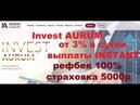 Invest AURUM 27 дней стабильной работы, выплаты INSTANT