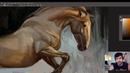 Pintura de um cavalo Aquecimento e saturação de cor