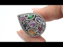Certified Fancy Color Sapphire, Ruby, Emerald Diamond Cocktail Ring 14k Gold 3.17 tcw- C1050