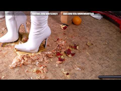 CUSTOM VIDEO/Christina tramples shrimps and fruits in the Gianmarco Lorenzi boots.
