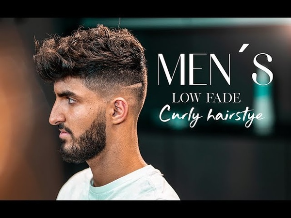 Men´s long curly hair . Low fade haircut tutorial NEW2018