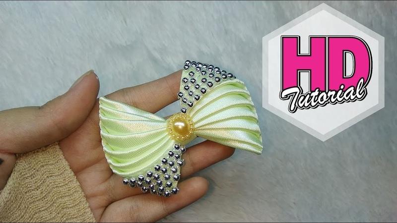DIY - cara membuat bros dari pita || Simple Kanzashi Flower || Satin Ribbon Flower || HD Tutorial