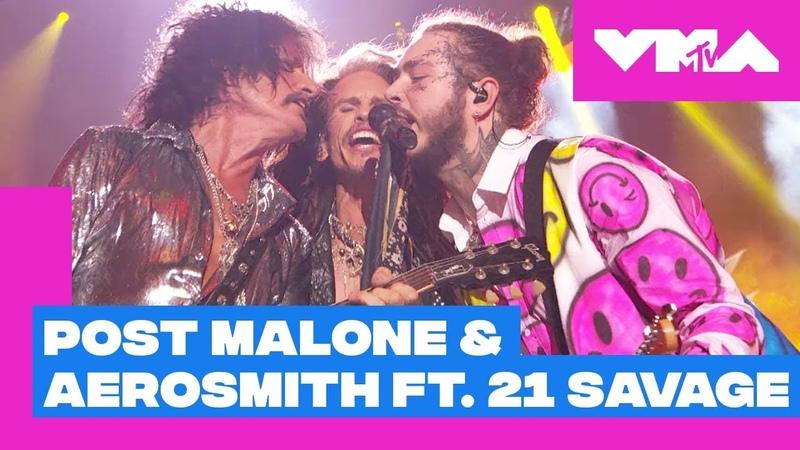 Post Malone Aerosmith ft. 21 Savage Perform Rockstar Dream On More! | 2018 VMAs