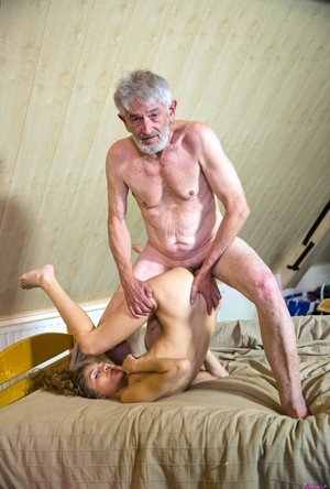 Old geezer fucks two hot babes