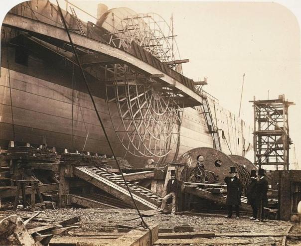 """Строительство парохода """"Great Eastern"""", Великобритания, 1857 год."""