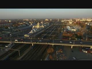 Брест: над центром и ЖД вокзалом