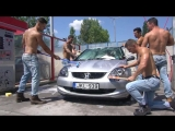 Muscled men washing a car too much !!!
