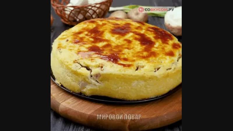 Пирог из картофеля фарш пюре лук зел яйца духовка