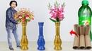 Big size corner flower vase make at home Paper roll Flower vase for home decoration