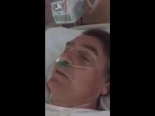 O @jairbolsonaro mandando um recado para o povo brasileiro depois da cirurgia. Que Deus te