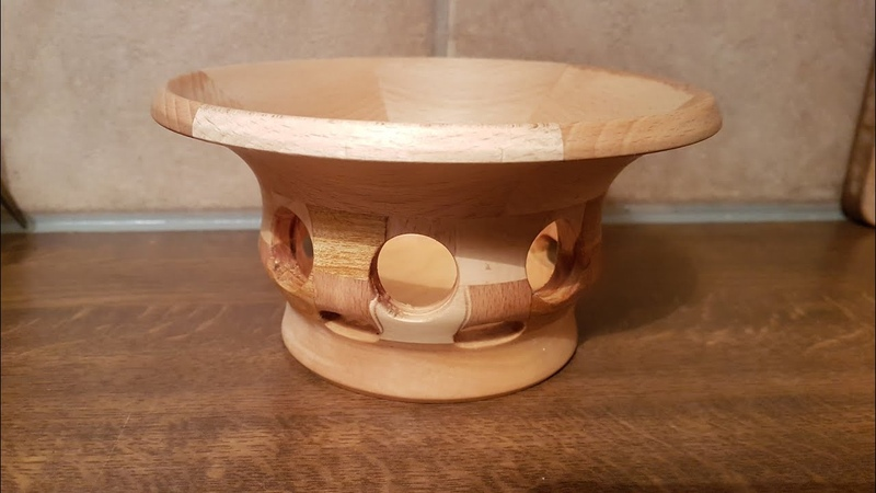 Необычная сегментная вазочка из вишни и бука на токарном