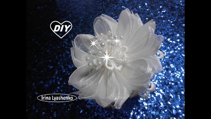 Цветок из органзы МК/DIY Organza flower/ PAP Flor de organza159