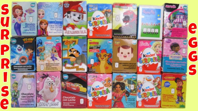 21 Chocolate Surprise Eggs Alvin Yokai Shimmer Shine Minnie Peppa Pig Doc Mcstuffins El Chavo Toys