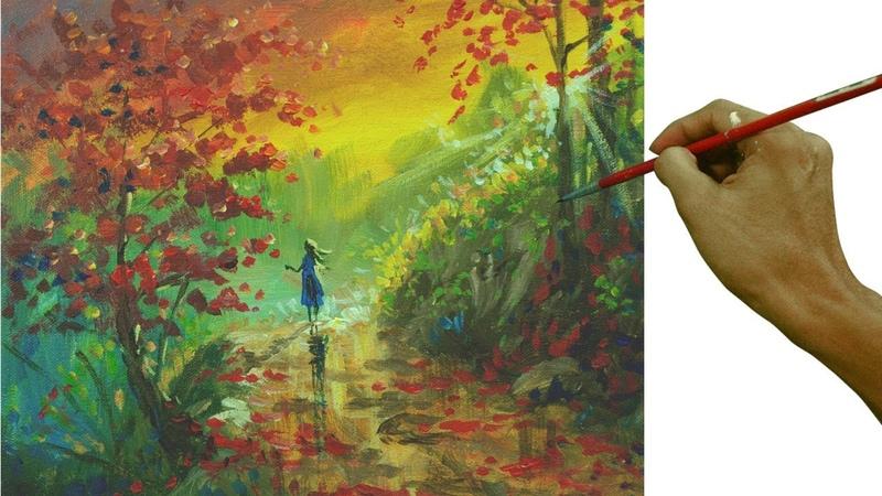 Impressionism Painting | Lady Walking in Autumn Sunset by JM Lisondra