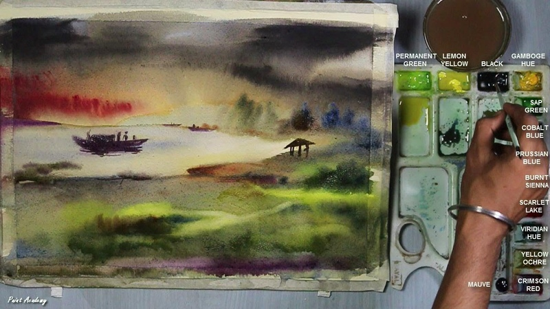 Wash Technique Watercolor Sunset step by step