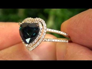 CERTIFIED Blue Sapphire Diamond Engagement Cocktail Ring - Kate Middleton