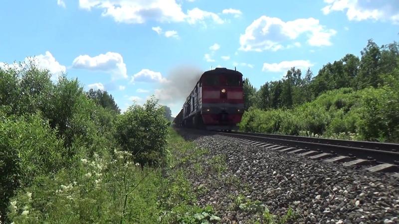 2ТЭ10М-2183 и 2М62У-0365 с путеремонтным поездом, перегон Угловой-Чур