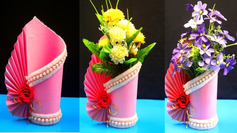 How to make a paper vase at home - DIY Simple paper craft - Paper flower vase crafts