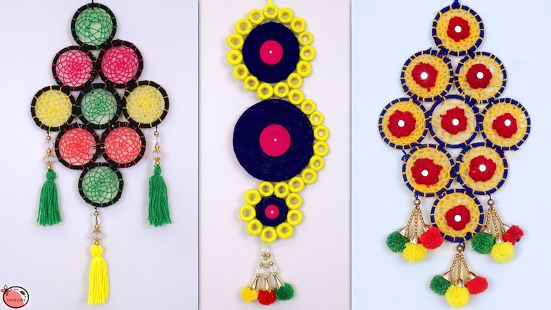 Best Out of Waste Bangles Idea Easy Woolen Wall Hangings