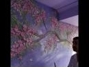 Райские деревья в сиреневой комнате, тонировка кварцем, художник Денис Симонов