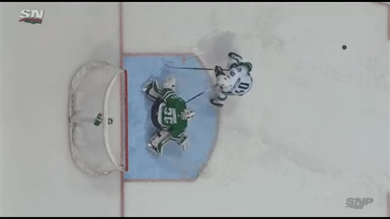Anton Khudobin appears to throw his stick at Elias Pettersson on the penalty shot, but the refs dont see it that way. Canucks Go
