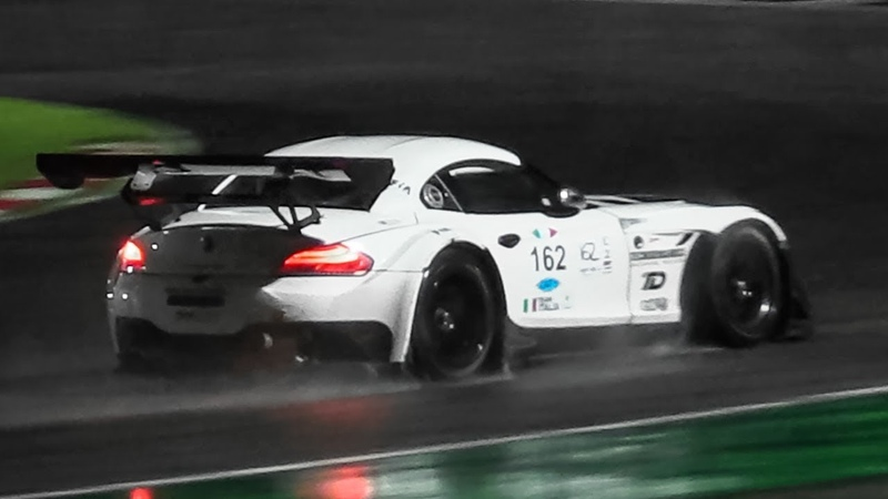 BMW Z4 GT3 V8 Symphony at Adria Raceway Night OnBoard Slippery Conditions