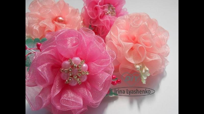 Пышный цветок из органзы МК/DIY Organza flower/PAP Flor de organza168