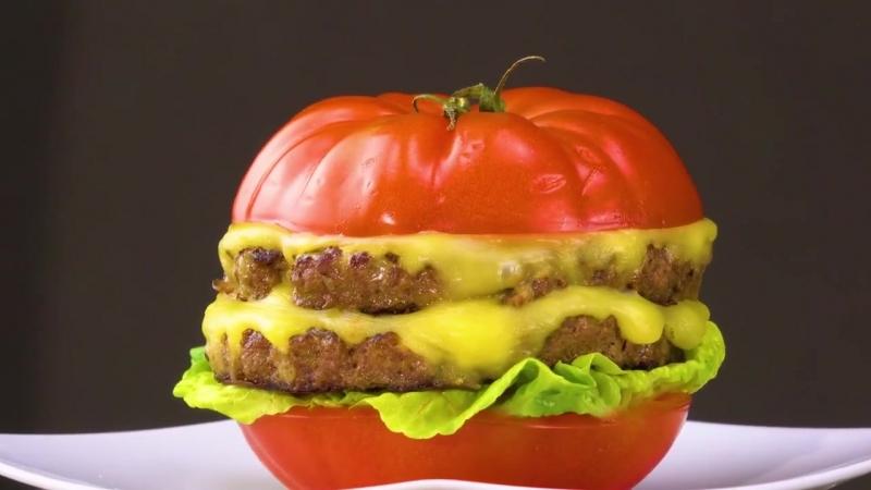Чизбургер в помидоре | Больше рецептов в группе Кулинарные Рецепты