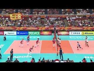 One-hand set by captain #10 Maja Ognjenovic and super spike by #16 Milena Rasic @MilenaRasic1 gave Serbia?? @ossrb a set point a