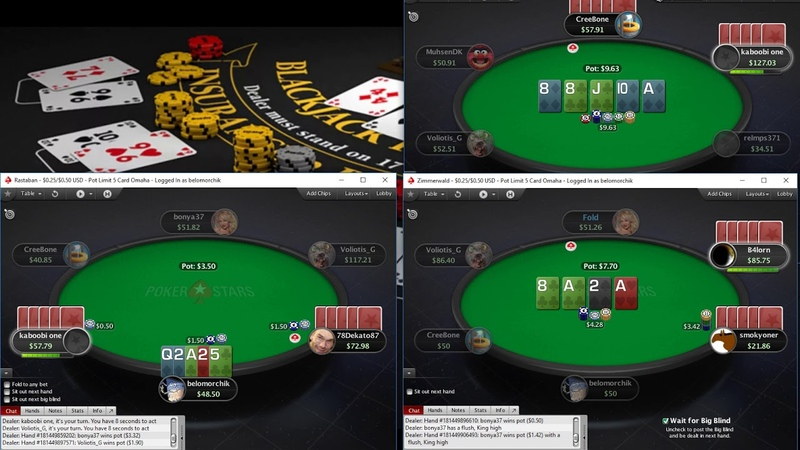 Омаха 5 карт на Покерстарс ПЛО50 Omaha 5card on PokerStars PLO50