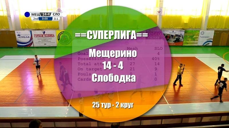 Мещерино - Слободка 14:4 (6:1) Обзор матча - 25 тур СуперЛига