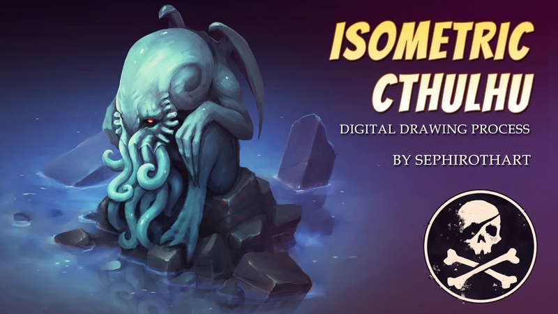 Isometric Cthulhu ● Digital Drawing Process ● Game Art