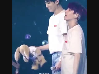 Jungkook meeting his long lost twin bunny kookoo and making sure he has a good seat on the stage