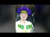 Миша Марвин в маске болельщика Бразилии