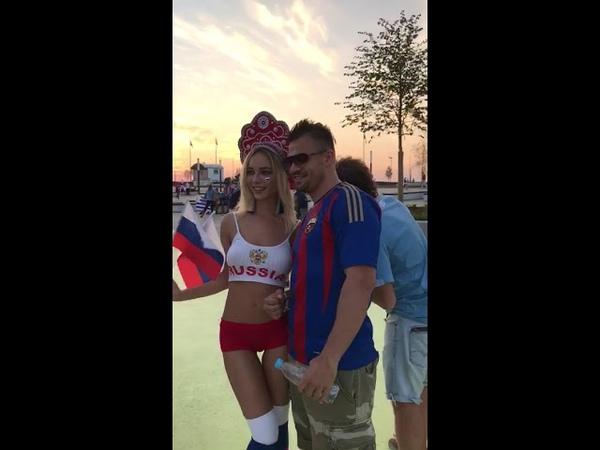 Самая красивая болельщица сборной России Наталья Андреева (Немчинова) в Самаре!