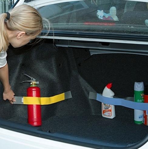Разноцветные липучки для крепления вещей в багажнике