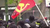 France May Day protesters smash McDonald's facade in Paris