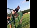 Girl Gets Stuck On Fence