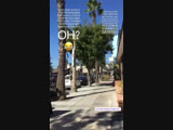 Fan taken video of Justin leaving Alfred Coffee in Studio City, California (October 17)