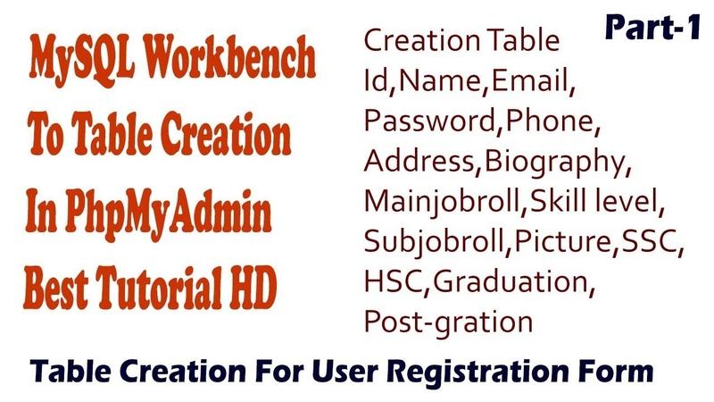 MySQL Workbench Tutorial(table creation for registration form)|2018|HD|