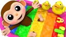 Learn Colors Baby Monkey Water Slide Wheels On The Bus Song for Kid Children