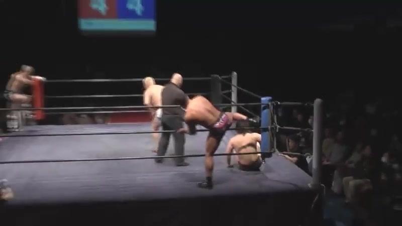 Takashi Sugiura, Takuya Nomura vs. Rocky Kawamura, Yoshio Takahashi (Hard Hit - Samurai Wearing Leg Guards)