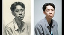 Young men portrait sketching in Pencil