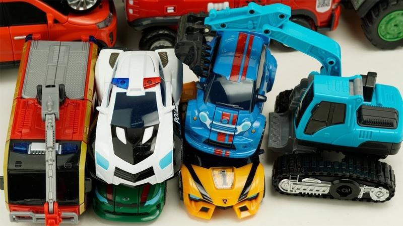 Tobot Athlon Robot Carbot Transformers Car Magma 6 vs GIGA SEVEN Police, Fire Truck трансформеры Toy