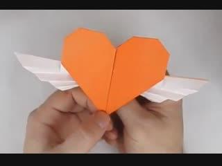 Оригами сердце - валентинка из бумаги